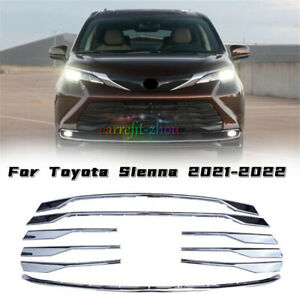 Fit For Toyota Sienna 2021-2022 Chrome Front Center Mesh Grille Grill Cover Trim