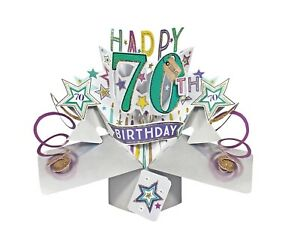 70th Birthday Card 3D Pop Up Card Male Dad Husband Brother Gift Card