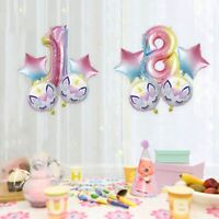 32'' Rainbow Unicorn +Number Foil Balloons Kids Shower Birthday Party Decor Bett