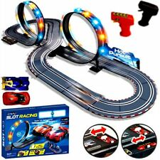 Grande télécommande light up slot car racing track kids jouet enfant jeu cadeau