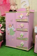 Armoire Penderie Tiroirs Fille Princesse Rose Chambre D'enfant Meuble Dressing