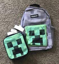 Minecraft Kids Grey Backpack Creeper Green Lunch Bag School Kit Set New