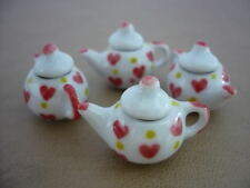4 Art Hand Paint  Heart Yellow Red Teapot Dollhouse Miniatures Ceramic Deco