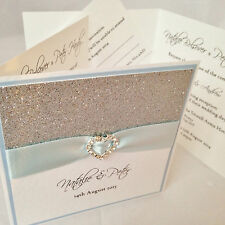 20 *All That Sparkles* buckle pocket fold wedding day evening invitations& RSVP