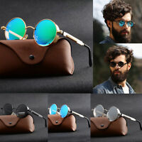Vintage Retro Polarized Steampunk Sunglasses Fashion Round Mirrored Eyewear UVAB