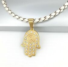 Gold Hamsa Khamsa Hand Stainless Steel Pendant White Braided Leather Necklace