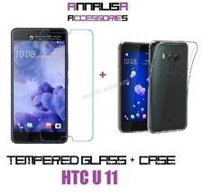 CUSTODIA COVER + PELLICOLA VETRO TEMPERATO PER HTC U11 TPU CASE + TEMPERED GLASS