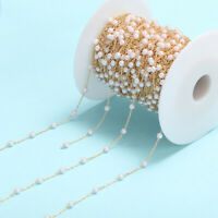 1M Pearl Beads Chain 4mm Wire Wrapped Rosary Round Findings DIY Jewelry Making