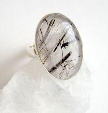 Ring mit Turmalinquarz Quarz, 925er Silber, Gr. 17,5 -Turmalin - Rutil -