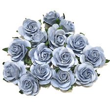 Dusky Blue Open Mulberry Paper Roses Card Making Crafts Flowers Or025