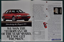 1989 PEUGEOT 405 2-page advertisement, Red Peugeot 405 sedan