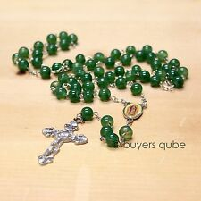 """Beautiful Green Our Lady of Guadalupe Glass Beads Rosary 23"""" Length"""
