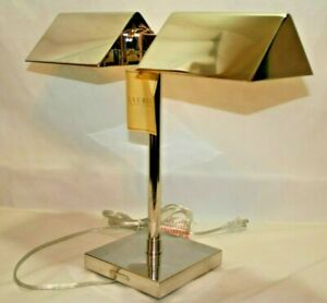 Ralph Lauren Agatha O' Bankers Dual Double Chrome Silver Banker's Desk Lamp New