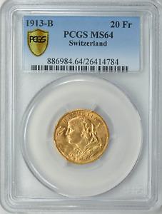SWITZERLAND ~ 1913 ~ GOLD 20~FRANCS ~ PCGS MS~64 ~GEM~ (AGW=0.1867 OZ) ~ $568.88