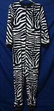 Nick & Nora Fleece ZEBRA Striped Footie Pajamas PJs One-Piece sz Small Zip Front