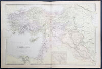 1870 John Bartholomew Large Antique Map The Ottoman Empire in Middle East Turkey