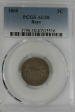 1866 .05  PCGS  AU58 RAYS Shield Nickel, Old Nickel Collector, First Nickels,