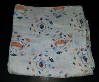 Aden & Anais Into Woods Hedgehog Muslin Cotton Swaddle Blanket Acorns Leaves Nut