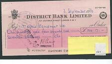 wbc. - CHEQUE - CH167 - USED -1960's - DISTRICT BANK, LONDON SW1 - sm sort code