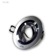 10x Einbauleuchte Einbaustrahler Rund ALU-gebürstet schwenkbar MR16 Einbaurahmen