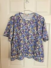 WOMEN'S TOP PURPLE  FLOWERS  SIZE LARGE POLYESTER KNIT