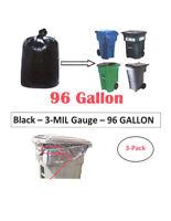 3X Flat Type Biodegradable Trash Garbage Rubbish Super Big Black Bags 96 Gallon