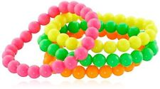 Neon Bead BRACELET 80s Costume Accessory Bright Rave Fancy Dress Costume