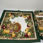 Thanksgiving Cloth Napkins Set 16 Linens Cotton Hunter Green Turkey Fall Harvest