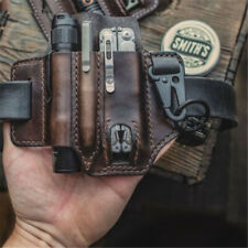 3 Pocket Multitools Holder Leather Tool Sheath Organizer Belt Pouch Knife Pen