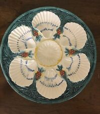 VINTAGE MAJOLICA OYSTER PLATE SCALLOP SHELL