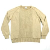 Columbia Mens XL Pullover Sweater Tan Brown Crew Neck Cotton Long Sleeve