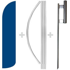 Solid Blue 15' Tall Windless Swooper Feather Banner Flag & Pole Kit