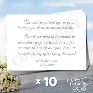 10 x Personalised Wedding Birthday Money Gift Honeymoon Wish Cards Cash Inserts