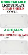 2 Clear UNBREAKABLE License Plate Shield Covers + 8 Screw Caps for MERCEDES