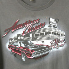 American Classics Diner Drive Up Dig In Grey XL 100% Cotton T-shirt ACCEPTABLE