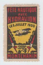 France Cinderella Air Show stamp 10-17-21- hinged gum Airplane trimmed? seaplane