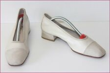 Escarpins Tout Cuir Blanc Cassé Made In Italy T 41 TBE