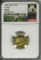 1984 1/10 oz Gold China Panda NGC MS 69  10 Yuan