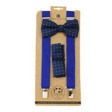 86f13c01a36 Men s Blue Polka Dot 3 PC Banded Suspenders Bow Tie and Hanky Sets FYBTHSU10