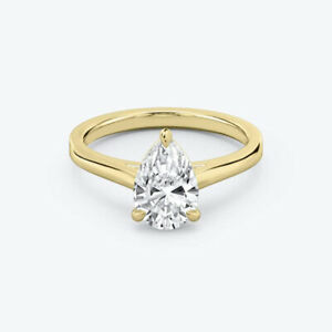 0.80 Carat Womens  Pear Cut Diamond Engagement Ring 14K Yellow Gold Size 5 6 7 8
