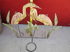 Metal ART SCULPTURE Flamingo Plant Candle Holder  Wall Hanging Crane Heron