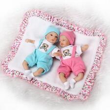2PCS 8'' Handmade Baby Silicone Vinyl Reborn Newborn Boy + Girl Doll + Clothes