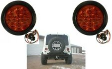 "(2) 4"" Round LED Stop/Turn/Tail Light Kit with Red Lens New Free Shipping"