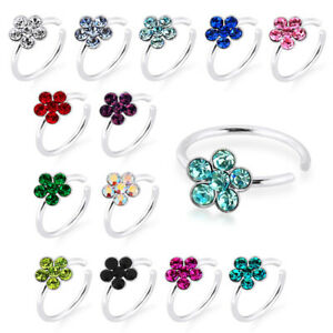 925 Sterling Silver Seamless Continuous Nose Hoop Ring with Flower