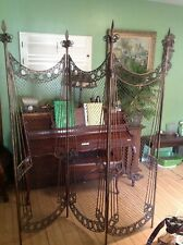 Vintage Metal Italian Style 3 Panels Room Divider With 4 Spears Post