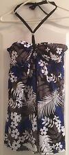Tropical Escape Swimsuit Bathing Suit Blue Halter 12 Floral Palm Print NEW