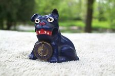 1934 Hubley Blue Dog Cast Iron Chicago World's Fair Paperweight Bronze Tag