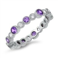 Amethyst Eternity Band .925 Sterling Silver Ring Sizes 5-10 NEW