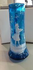 Victorian Blue Glass Mary Gregory Hand Painted Enameled Pitcher 12 inches tall