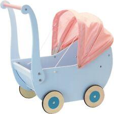 Landau en bois bleu ciel avec capote rose pour poupée - Petitcollin 800217